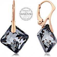 Levien Růžově pozlacené náušnice s tmavými krystaly Princess