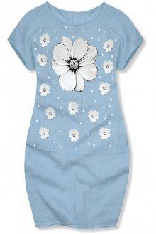 Světle modré lněné šaty