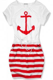 Červeno-bílé šaty s kotvou
