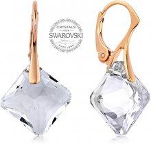 Levien Růžově pozlacené náušnice s čirými krystaly Princess