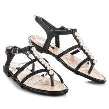 Stylové černé sandály s korálky