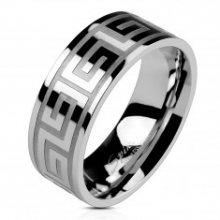 Prsten z oceli stříbrné barvy, lesklý povrch, řecký klíč, 8 mm D14.2/D14.3