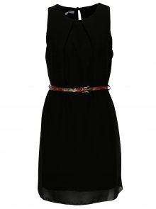 Černé šaty s hnědým páskem Haily´s Tanja