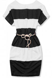 Pruhované černo-bílé šaty