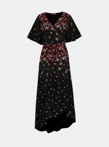 Černé květované zavinovací maxišaty Apricot