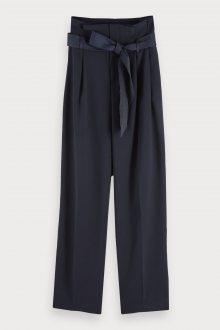 Scotch & Soda tmavě modré nabírané kalhoty s vysokým pasem - S
