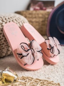 Pohodlné růžové dámské  nazouváky bez podpatku