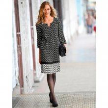 Blancheporte Šaty s grafickým potiskem černá/bílá 46