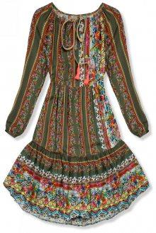 Khaki vzorované šaty ve volném střihu