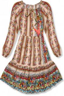 Béžové vzorované šaty ve volném střihu