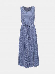 Modré pruhované maxišaty s plisovanou sukní Tommy Hilfiger Daisy