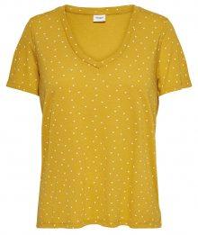 Jacqueline de Yong Dámské triko Cloud S/S Aop V-Neck Top Jrs Noos Golden Spice XS