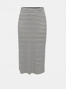 Modro-krémová pruhovaná maxi sukně Zizzi Angle