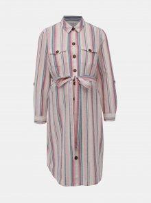 Růžovo-krémové pruhované košilové těhotenské šaty s příměsí lnu Dorothy Perkins Maternity