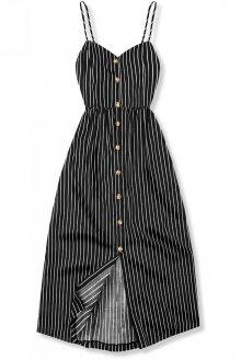 Černé pruhované midi šaty