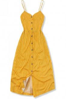 Žluté pruhované midi šaty