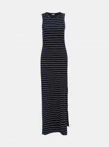 Tmavě modré pruhované žebrované basic maxišaty Jacqueline de Yong Nevada