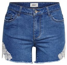 ONLY Dámské kraťasy Carmen New Lace Shorts Medium Blue Denim 27