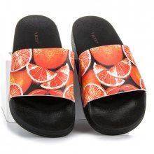 Stylové černo-oranžové nazouváky s pěkným potiskem