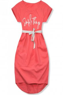 Korálově růžové lněné midi šaty