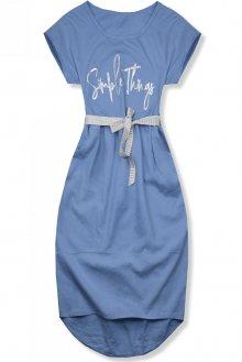 Jeans modré lněné midi šaty