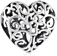 Infinity Love Stříbrný korálek Filigránové srdíčko HS-743-D