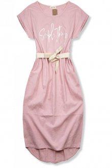Světle růžové lněné midi šaty
