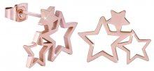 Troli Růžově pozlacené ocelové náušnice se třemi hvězdičkami