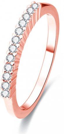 Beneto Růžově pozlacený stříbrný prsten s krystaly AGG188 50 mm