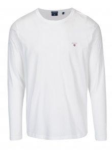 Bílé pánské basic tričko s dlouhým rukávem GANT