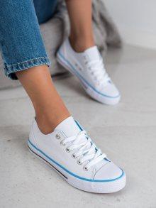 Pěkné  tenisky bílé dámské bez podpatku