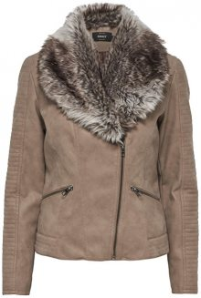 ONLY Dámská bunda Sassy Faux Leather Fur Biker Otw Desert Taupe 36