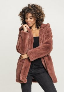 Urban Classics Ladies Hooded Teddy Coat darkrose - XS