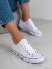 Designové bílé dámské  tenisky bez podpatku