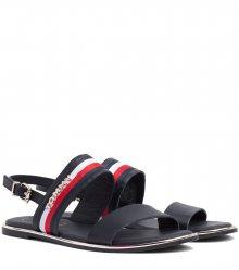 Tommy Hilfiger tmavě modré kožené sandály Flat Sandal Corporate Ribbon Midnight - 41