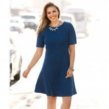 Venca Jednobarevné vypasované šaty modrá 50