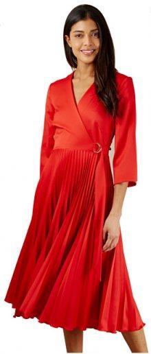 Closet London Dámské šaty Closet Wrap Pleated Dress Red S