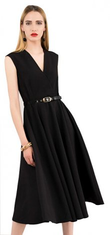 Closet London Dámské šaty Closet Flared Wrap Dress With Belt Black S