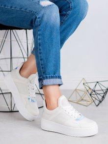 Praktické  tenisky dámské bílé bez podpatku