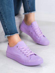 Pohodlné dámské  tenisky fialové bez podpatku