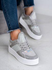 Stylové  tenisky dámské šedo-stříbrné bez podpatku