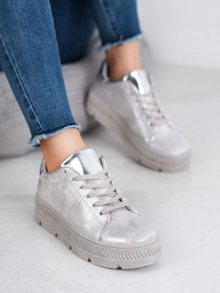 Designové šedo-stříbrné dámské  tenisky bez podpatku