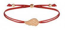 Troli Šňůrkový náramek s andělským křídlem červená/bronzová TO2571
