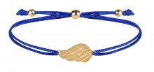 Troli Šňůrkový náramek s andělským křídlem modrá/zlatá TO2565