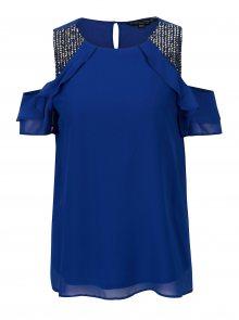 Modrá halenka s průstřihy na ramenou Dorothy Perkins
