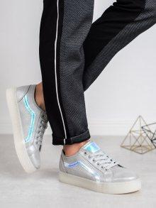 Stylové šedo-stříbrné  tenisky dámské bez podpatku