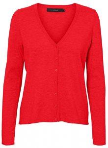 Vero Moda Dámský svetr VMHAPPY BASIC LS V-NECK CARDIGAN COLOR Chinese Red XS