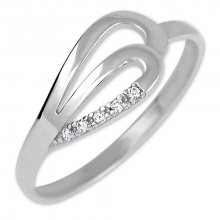 Brilio Prsten z bílého zlata s krystaly 229 001 00735 07 52 mm