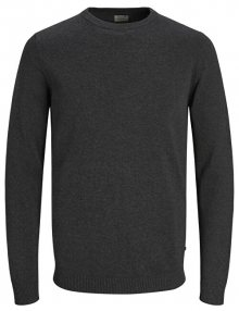 Jack&Jones Pánský svetr JJEBASIC KNIT CREW NECK NOOS Dark Grey Melange S