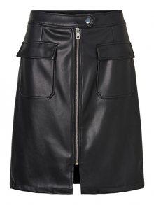 Vero Moda Dámská sukně VMBUTTERSIA HW COATED AK SKIRT Black XS